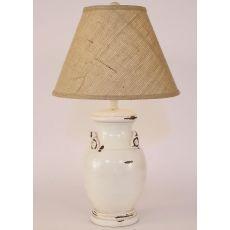 Coastal Lamp Crock Pot W/ Handles - Heavy Distressed Light Nude High Gloss