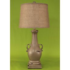 Coastal Lamp Casual Pot W/ 2 Handles & Square Base - Heavy Distressed Cottage Glaze