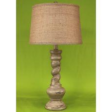 """Coastal Lamp """"B"""" Pot W/ Twist - Heavy Distressed Grey"""