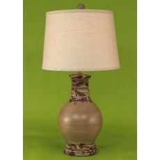 Coastal Lamp Round Pot W/ Ribbed Neck - Vintage