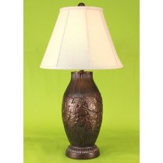 Coastal Lamp Traditonal Ribbed Floor Lamp W/ Leaf Accent