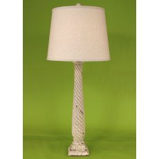 Coastal Lamp Tall Slender Swirl W/ Square Base Table Lamp - Crackle Cottage