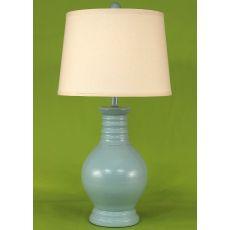 Coastal Lamp Round Pot W/ Ribbed Neck - High Gloss Atlantic Grey