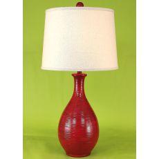Coastal Lamp Ridged Tear Drop - Brick Red Glaze High Gloss