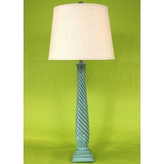 Coastal Lamp Tall Slender Swirl W/ Square Base Table Lamp - Glazed Turquoise Sea High Gloss