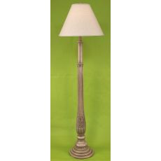 Coastal Lamp Traditional Ribbed Floor Lamp w/Leaf Accent