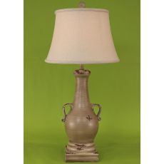 Coastal Lamp Casual Pot W/ 2 Handles & Square Base - Aged Cottage