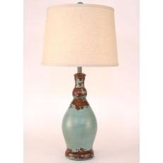 Coastal Lamp Slender Neck Casual Pot - Aged Turquoise Sea