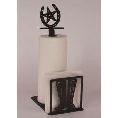 Coastal Lamp Iron Boot Paper Towel/Napkin Holder W/ Horseshoe Topper