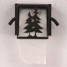 Rustic Iron Double Pine Tree Toilet Paper Box