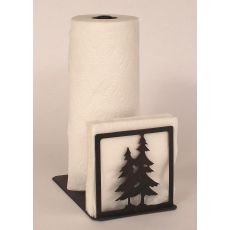 Rustic Iron Double Pine Tree Short Paper Towel/Napkin Holder