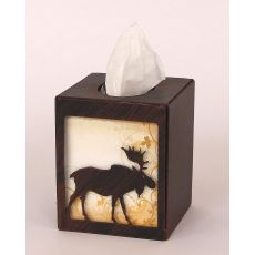 Rustic Iron Moose Square Tissue Box Cover