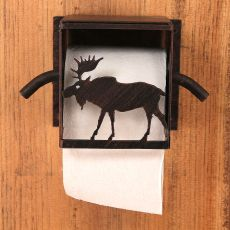 Rustic Iron Moose Toilet Paper Box