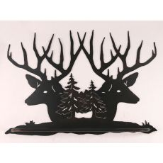 Rustic Iron Deer Head Scene Towel Bar