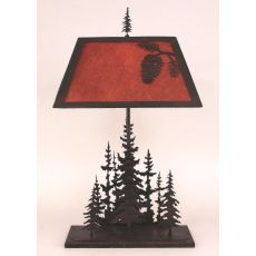 Rustic Iron Rectangle Feather Pine Tree Table Lamp - Burnt Sienna