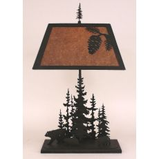 Rustic Iron Rectangle Feather Pine Tree Table Lamp - Kodiak