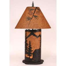 Coastal Lamp Large Cabin Scene Panel W/ Night Light