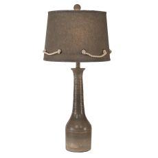 Coastal Lamp Slender Neck Textured Pottery Pot - Storm