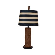 Coastal Lamp Manila Rope Spindle W/ Wooden Base Table Lamp