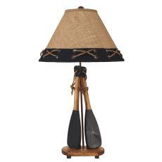 Coastal Lamp 2 Boat Paddles W/ Rope Handles Table Lamp