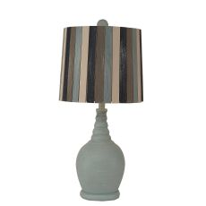 Coastal Lamp Round Accent Lamp W/ Ribbed Neck - Weathered Seamist