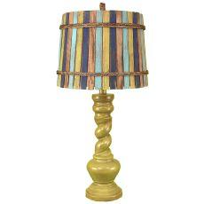 "Coastal Lamp New ""B"" Pot W/ Twist - High Gloss Lime Glazed"