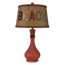 Coastal Lamp Smooth Genie Bottle Pot W/ Rope Accent