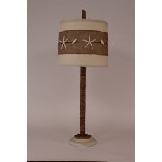 Manila Rope Table Lamp W/ Painted Base And Starfish Shade