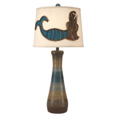 Coastal Lamp Ribbed Hour Glass Pot W/ Mermaid Lamp Shade
