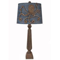 Coastal Lamp Ribbed Candlestick W/ Square Base - Greywood