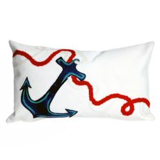 "Liora Manne Visions I Anchor Indoor/Outdoor Pillow White 12""X20"""