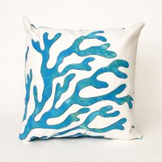 "Liora Manne Visions I Coral Indoor/Outdoor Pillow Blue 20"" Square"