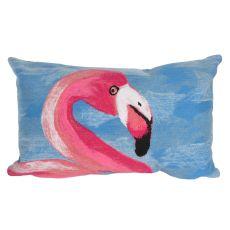 """Liora Manne Visions III Flamingo Indoor/Outdoor Pillow Blue 12""""X20"""""""
