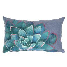 "Liora Manne Visions III Succulent Indoor/Outdoor Pillow Blue 12""X20"""