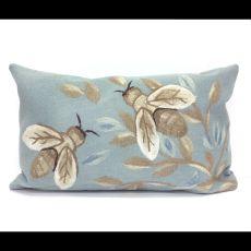 Liora Manne Visions III Bees Indoor/Outdoor Pillow Blue 12 in. x 20 in.