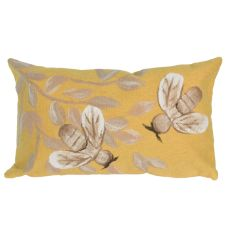 "Liora Manne Visions III Bees Indoor/Outdoor Pillow Gold 12""X20"""