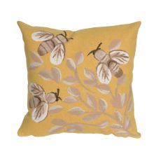 "Liora Manne Visions III Bees Indoor/Outdoor Pillow Gold 20"" Square"
