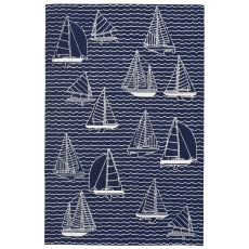 "Liora Manne Capri Sails Indoor/Outdoor Rug Navy 7'6""X9'6"""