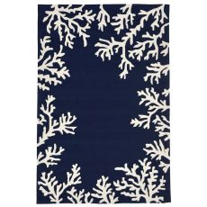 "Liora Manne Capri Coral Border Indoor/Outdoor Rug Blue 8'3""X11'6"""