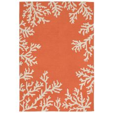 Liora Manne Capri Coral Border Indoor/Outdoor Rug Orange 24 in. x 60 in.