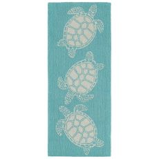 "Liora Manne Capri Turtle Indoor/Outdoor Rug Blue 24""X60"""