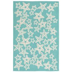 Liora Manne Capri Starfish Indoor/Outdoor Rug Blue 24 in. x 60 in.