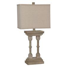 Wooden Column Table Lamp