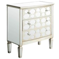 Felicity 3 Drawer Oval Mirror Design Champagne Finish Chest
