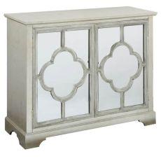 Camille Silver Leaf 2 Mirrored Door Quatrefoil Pattern Cabinet