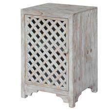 Charlotte 1 Door Light Wash Diamond Lattice Work Cabinet