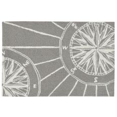 "Liora Manne Frontporch Compass Indoor/Outdoor Rug Grey 24""X36"""