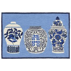 "Liora Manne Frontporch Ginger Jars Indoor/Outdoor Rug Blue 24""X36"""
