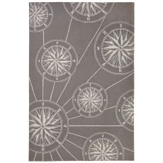 Liora Manne Frontporch Compass Indoor/Outdoor Rug Grey 5'X7'6""