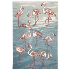 Liora Manne Frontporch Flamingo Indoor/Outdoor Rug Blue 5'X7'6""